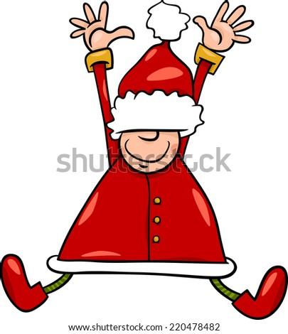 Cartoon Illustration of Happy Jumping Santa Claus or Elf Character - stock photo