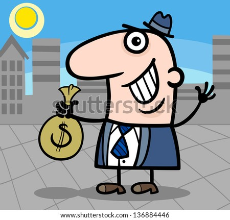 Cartoon Illustration of Happy Man or Businessman with Bag of Money in Cash in the City - stock photo