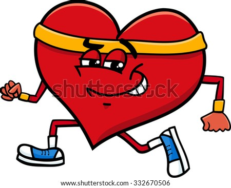 Cartoon Illustration of Heart Character Doing Jogging on Valentine Day
