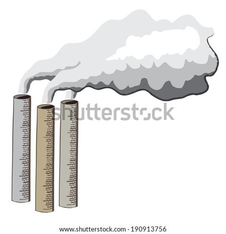 Cartoon illustration of industrial chimneys emitting smoke - stock photo