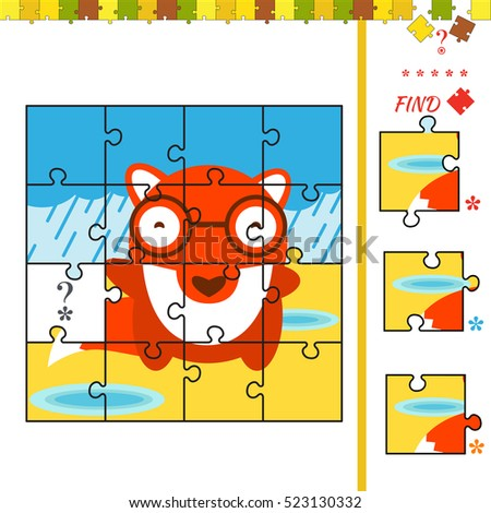 Cartoon illustration of jigsaw puzzle educational activity for preschool children