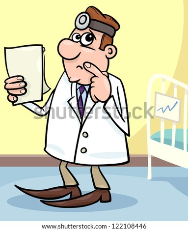 Cartoon Illustration of Male Medical Doctor in Hospital Room with Writing Board near the Patient Bed - stock photo
