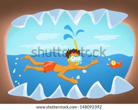 cartoon illustration of man fish and shark - stock photo