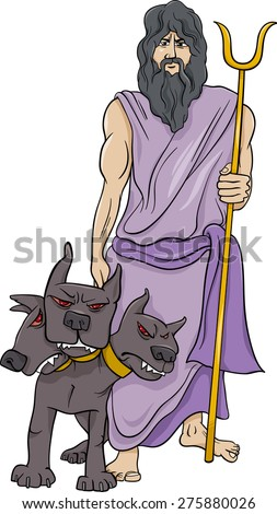 Cartoon Illustration of Mythological Greek God Hades - stock photo