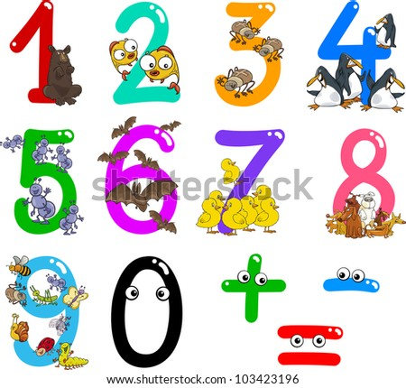 cartoon illustration of numbers from zero to nine with animals - stock photo