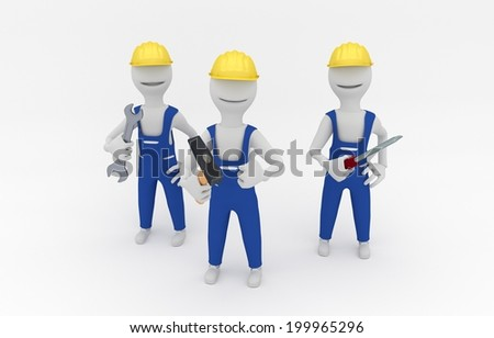 Cartoon illustration of repairmen holding tools -3D model - stock photo
