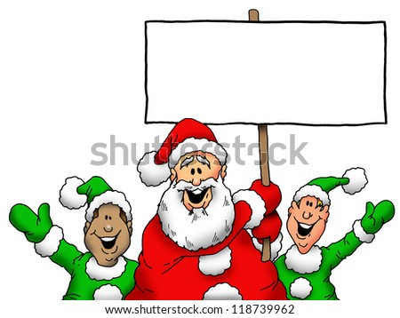 Cartoon Illustration of Santa and Elves With Blank Sign