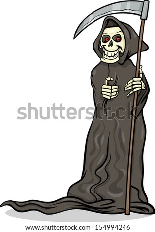 Cartoon Illustration of Spooky Halloween Death with Scythe or Skeleton Character