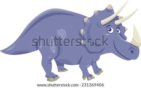 Cartoon Illustration of Triceratops Prehistoric Dinosaur - stock photo