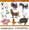 Cartoon Illustration Set of Happy Farm and Livestock Animals isolated on White - stock vector
