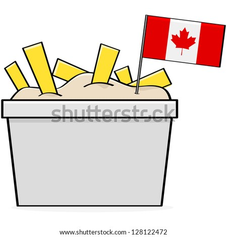 Cartoon illustration showing a bowl of the traditional Canadian food called poutine, made of cheese, fries and gravy - stock photo