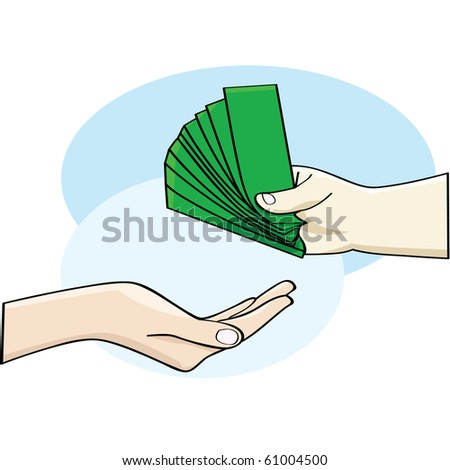 Cartoon illustration showing a hand giving money and an open hand accepting it - stock photo