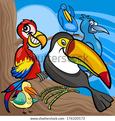 Cartoon Illustrations of Funny Colorful Birds Characters Group - stock photo