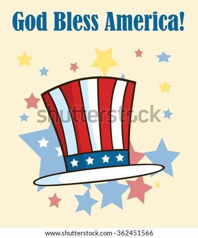 Cartoon Illustrations Of Patriotic American Top Hat. Raster Illustration Greeting Card - stock photo
