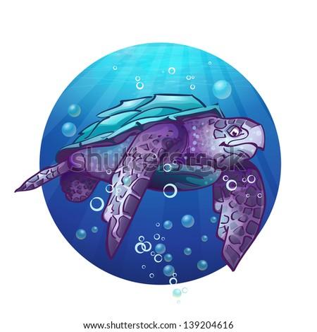 Cartoon image of a sea turtle.Raster copy - stock photo
