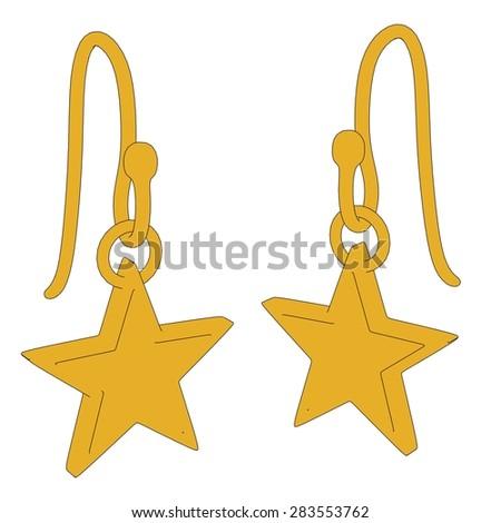 cartoon image of earrings - jewellry - stock photo