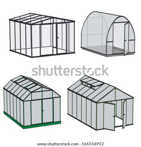 cartoon image of greenhouse building - stock photo