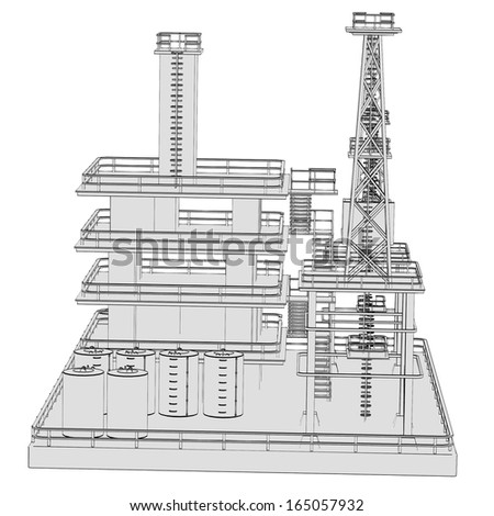 cartoon image of oil rig - stock photo