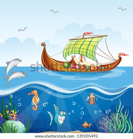 Cartoon image of the water world with merchant ships Viking S.VI.Raster copy - stock photo