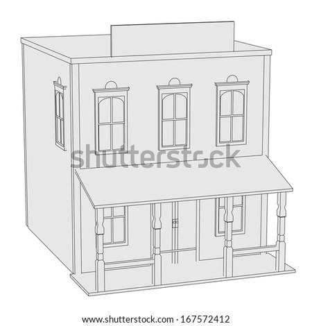 cartoon image of western house - stock photo