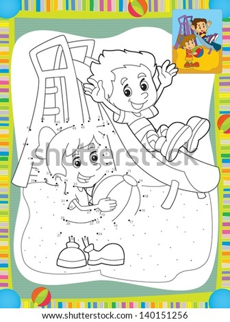 Cartoon kids playing on the slide - illustration for the children - stock photo