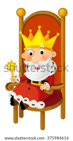 Cartoon king sitting on the throne - isolated - illustration for the children - stock photo