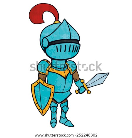 Cartoon knight in armour with sword and shield. Illustration. Isolated on white. - stock photo