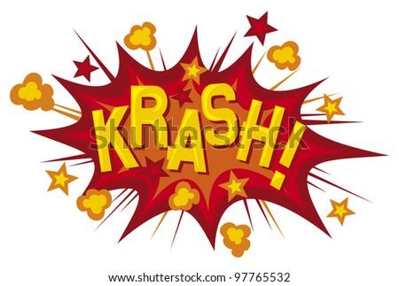 cartoon - krash (comic book element) - stock photo