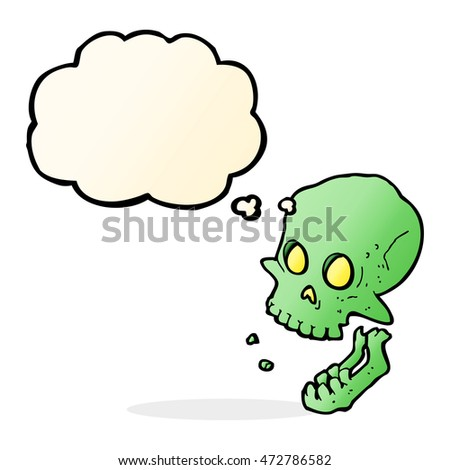cartoon laughing skull with thought bubble