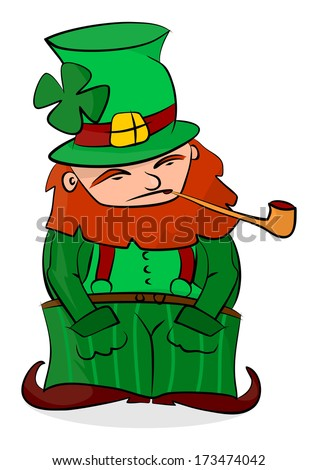 Cartoon leprechaun on a white background. Easy to add to any design. Raster
