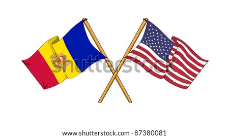 cartoon-like drawings of flags showing friendship between Andorra and USA