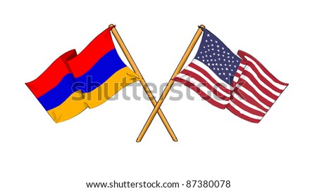 cartoon-like drawings of flags showing friendship between Armenia and USA