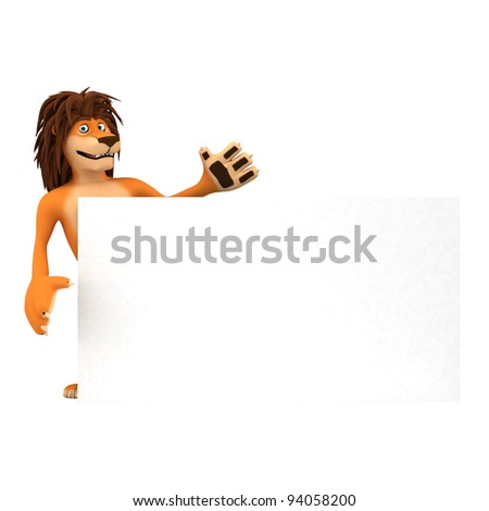 cartoon lion with rastafarian hair showing a message on white paper - stock photo