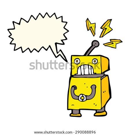 cartoon little robot with speech bubble - stock photo