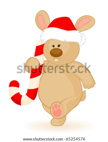 cartoon little toy bunny in the suit of Santa Claus with gift