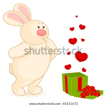 cartoon little toy bunny with gift