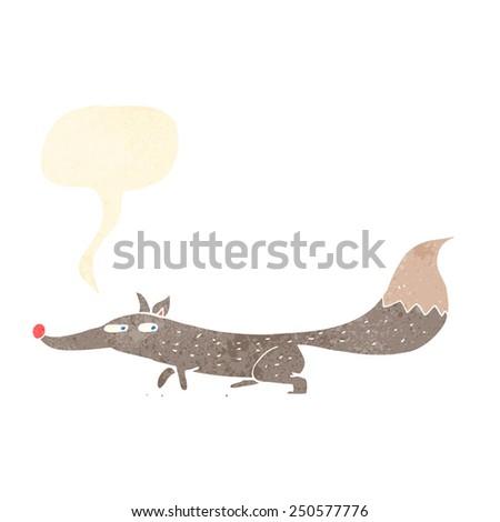 cartoon little wolf with speech bubble - stock photo
