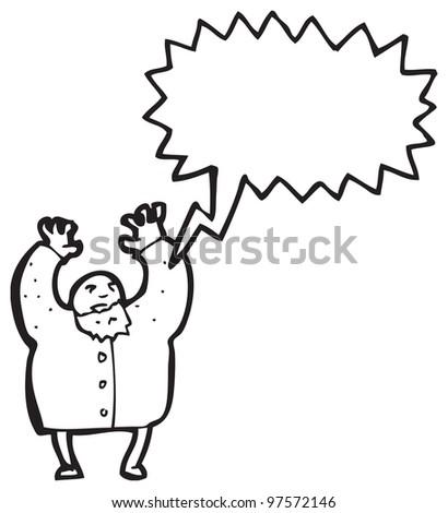 cartoon mad scientist shrieking - stock photo