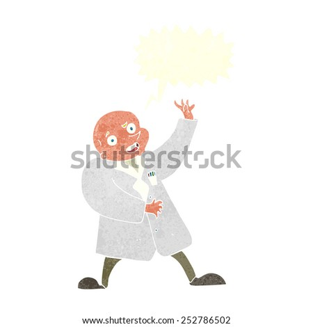 cartoon mad scientist with speech bubble - stock photo