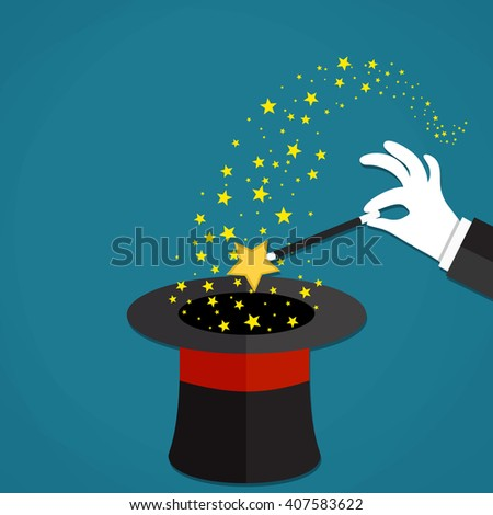 Cartoon Magicians hands in white gloves holding a magic wand with stars sparks above black magic hat. illustration in flat design on green background Raster version