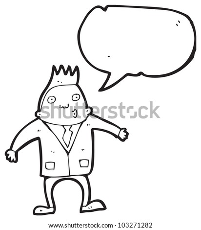 cartoon man in suit with speech bubble