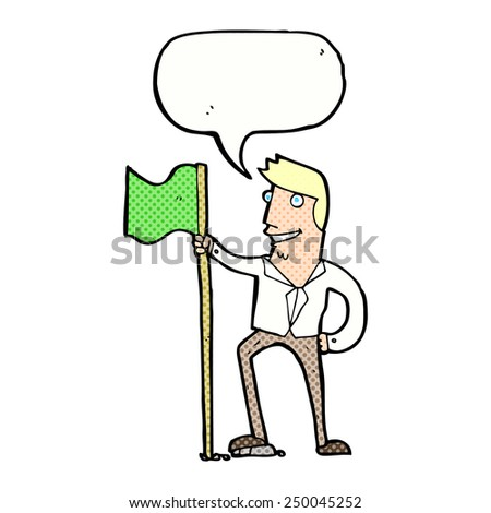 cartoon man planting flag with speech bubble - stock photo