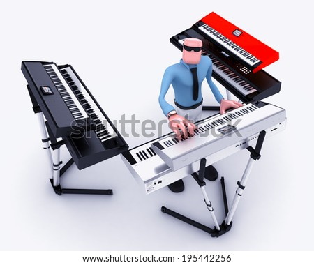 Cartoon man playing music instruments - stock photo