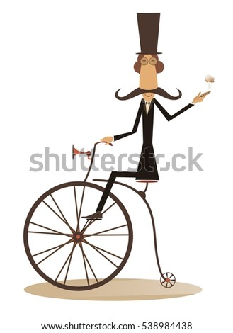 Cartoon Man Rides Bike Gentleman Mustache Stock Illustration