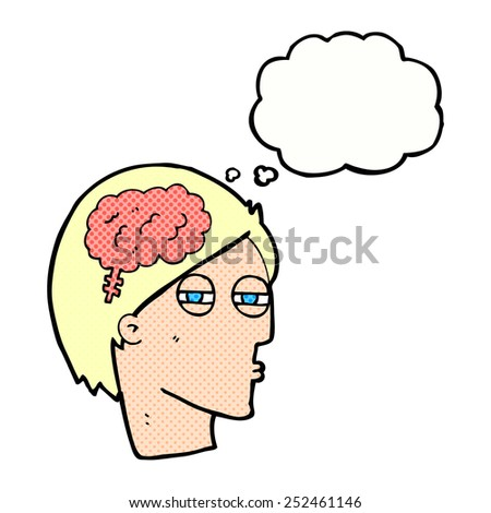 cartoon man thinking carefully with thought bubble - stock photo