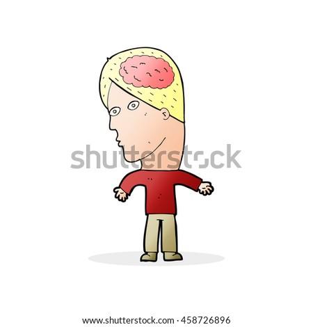 cartoon man with brain symbol - stock photo