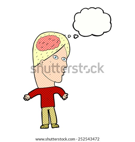 cartoon man with brain symbol with thought bubble - stock photo