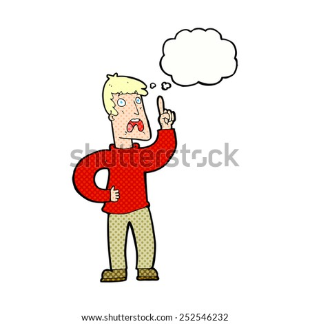 cartoon man with complaint with thought bubble - stock photo