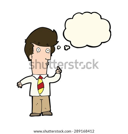 cartoon man with question with thought bubble - stock photo
