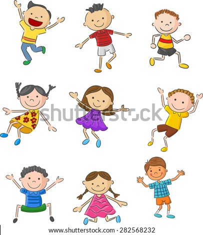 Cartoon many kids jumping together and happy